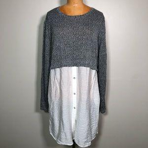 Cut loose long sleeve T-shirt tunic dress sweater
